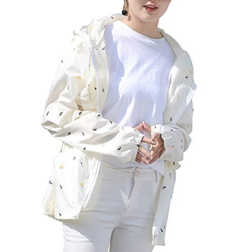 日焼け止め服 レディース  薄手 透け感 ゆったり 紫外線防止 防撥水 戸外 長袖 パーカー 上着 (Color : ホワイト)