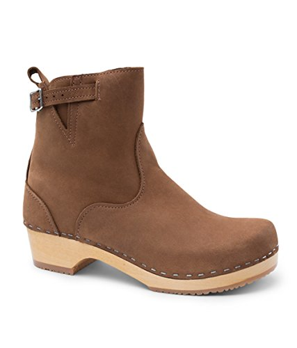 Sandgrens Swedish Low Heel Wooden Clog Boots for Women | New York in Dexter Tan, size US 8 EU 38 by Sandgrens