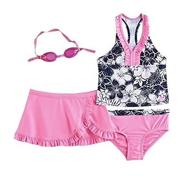 1b82ed1fac983 ZeroXposur Girls Tankini Top, Bottoms & Skirt Swimsuit Set (Strawberry, ...