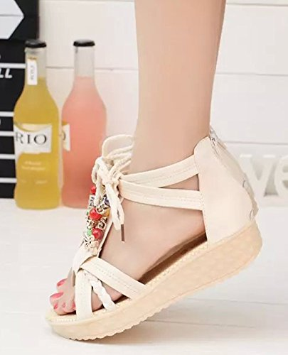 Minetom Women's Sweet Candy Color Bohemia Beaded Flats Elastic Lace Up Sandals Anti Skid Flip Flop Thongs Beach Shoes Beige GYMG4p