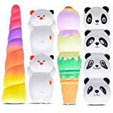 Mega Squishies Panda, Cat, Unicorn, Ice Cream Squishy Pens / Pencil Grips Set (4 Pack) Slow Rising Scented Pencil Toppers | Pen Holders | Kids Party Favors & Classroom Prizes | Stress Toys | Birthday