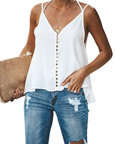 (GAMISOTE Women's Summer Sleeveless V Neck Silk Camisole Loose Fit Casual Shirt Flowy Spaghetti Strap Top White)