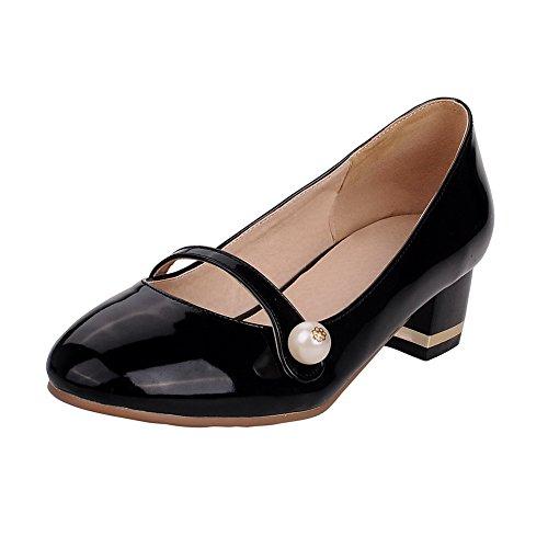 Allhqfashion Womens Ronde Gesloten Teen Pull-on Pu Stevige Lage Hakken Pumps-schoenen Zwart