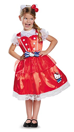 Disguise Authentic Deluxe Hello Kitty Sanrio Costume, Small/4-6X (Twin Girl Costumes)