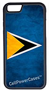 iPhone 6 Case, CellPowerCasesTM Saint Lucia Flag [Protect Series] -iPhone 6 (4.7) Black Case [iPhone 6 (4.7) Protective V1 Black]