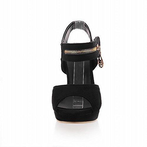 Carol Chaussures Mode Femmes Sexy Fermeture À Glissière Décorations Dété Utiliser Plateforme Haut Talon Sandales Noir