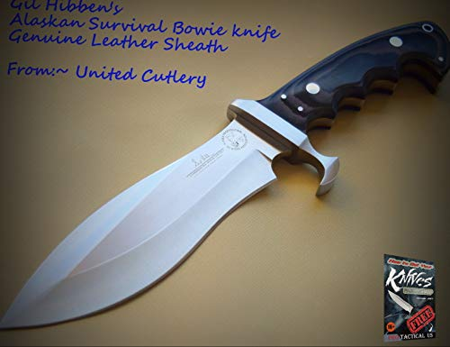 New 1pc United Cutlery Gil Hibben Alaskan Survival Bowie sharp Blade Knife Leather Sheath for Home Camping Hunting Rescue + free Ebook by ProTactical