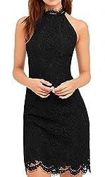 Lace Dress For Women V Show Elegant Halter Neck Sleeveless Sheath Black Cocktail Dresses Petite Us 10