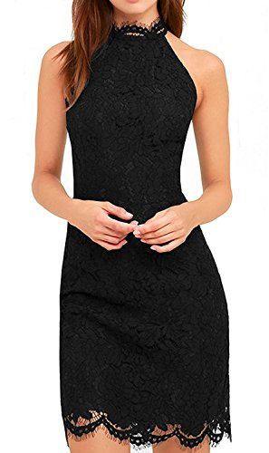 Zalalus Cocktail Dress, Women's Chic High Neck Prom Evening Wedding Party Guest Wear Lace Dress Black US 6