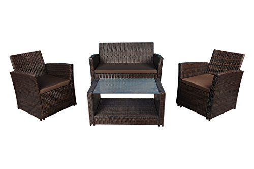Modern Outdoor Garden, Patio 4 Piece Set - Wicker Sofa Furniture Set (Black / Ivory)
