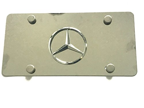 (Woowin 3D Mercedes Logo Emblem Stainless Steel License Metal Plate Tag With Anti-Theft Screws Caps 4 Holes For Mercedes (Chrome))