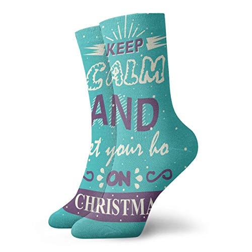 Cushion Socks Unisex Adults Novelty Patterned Casual Cotton Crew Athletic Socks Keep Calm And Get Your Ho On Christmas