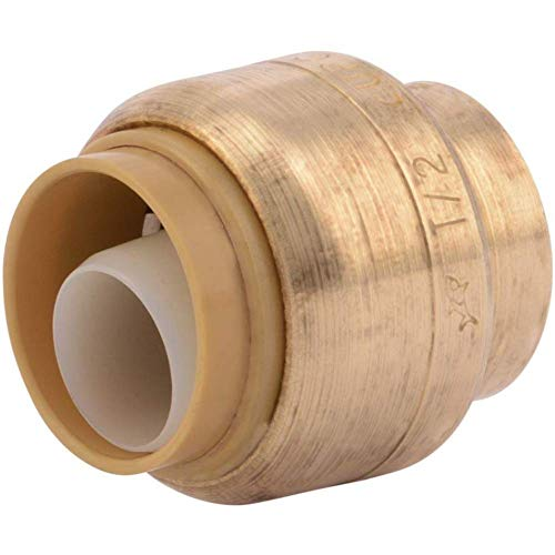 SharkBite U514LFA End Cap Plumbing 1/2 In, PEX Fittings, Push-to-Connect, Copper, CPVC, 0.5 Inch, Brass