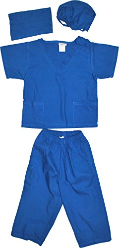 Kids Doctor Dress up Surgeon Costume Set, 6/8, (Kids Royal Blue Apparel)