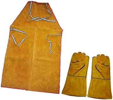 Sharplace Delantal de Soldadura con Guantes de Protección Aislamiento Térmico Equipo de Soldadura de Cuero Sintético