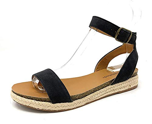 City Classified Tacomas Jute Crochet Flatform Wedge Heel with Ankle Buckle Straps,Black,10