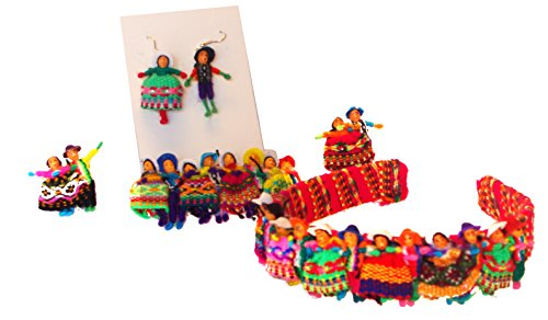 Girl Set Worry Doll Headband, Barrette, Earrings, Pin (2) Pack Peru Artisan *498,614,616,1194*