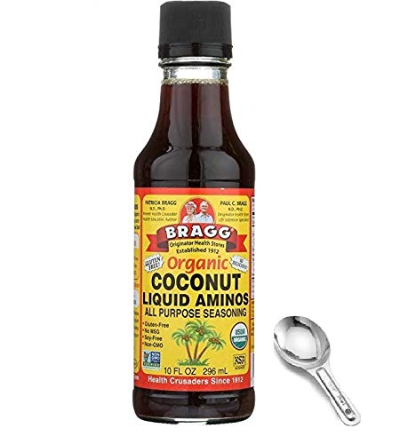 Coconut Organic Sauce - Bragg Organic Coconut Aminos, All Purpose Seasoning, 10 Ounce, w/ Measuring Spoon