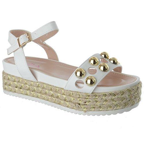 Uk Piel hebilla Tobillo En Tachuelas Con Sintética Cuña Image Blanco Alpargatas Mujer Tira Sandalias Plataformas Talla Zapatos Miss De f5RwFqF