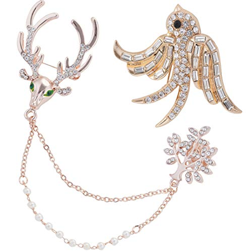 2Pcs Crystal Rhinestone Brooch Pins, Deer Chain Brooch Pin Bird Wedding Brooches for Women Girls Clothes Dress, Hat, Robe, Dress, Bouquet, Collar, Scarf Decoration from Shallylu