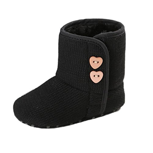 Amiley Toddler Baby Button Snow Boots Soft Sole Prewalker Crib Shoes Bootie (Size 12 (US:3--- 6~12 Month), Black)