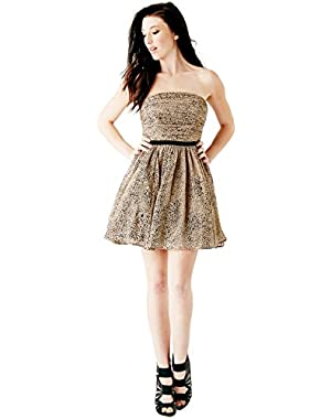 Guess Strapless Cheetah Print Dress