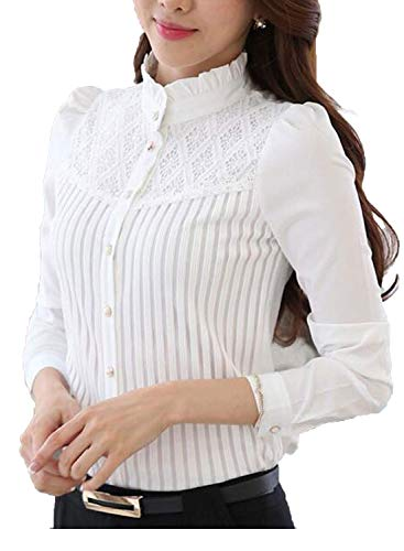 Smile fish Women's Vintage Collared Pleated Button Down Shirt Long Sleeve Lace Stretchy Blouse (S,White)#66196