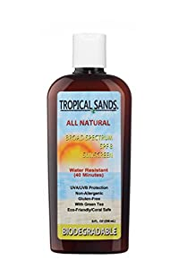 All Natural SPF 8 Sunscreen, Fragrance Free, Biodegradable, Reef Safe by Tropical Sands, Water Resistant Great for Snorkeling, 8 fl oz