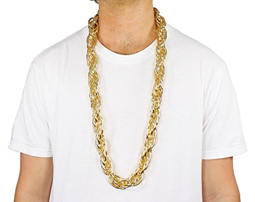 Rope GOLD PIMP CHAIN OLD SCHOOL RAPPER Costume Bling!! (Gold) ()