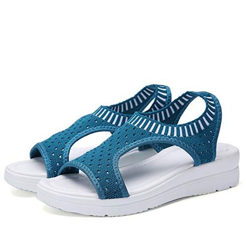 HOUBL 2019 Shoes Peep Toe Casual Flat Sandals Ladies Breathable Air Mesh Women Platform Sandals Sandalias,Navy Blue,6 (Counter Newcastle)