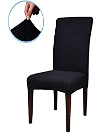 Subrtex Jacquard Stretch Dining Room Chair Slipcovers 4 Black