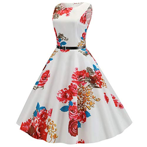 WOCACHI Womens Tea Dresses Vintage Sleeveless Floral Rose Casual Evening Party Prom Swing Dress with Belt 2019 New Deals Summer Best Choice for Ladies Under 10 Dollars