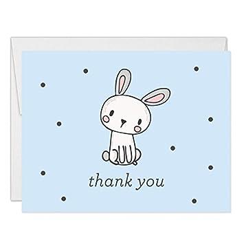 Amazon Com Blue Boys Bunny Rabbit Thank You Cards Blank Folded With