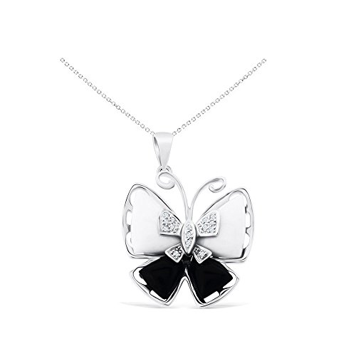 Pendant Mop Butterfly - 0.06CTW 14K White Gold Genuine Black Onyx/MOP and Diamond Butterfly Pendant With Square Rolo Chain