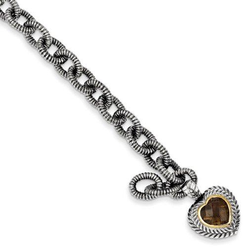 Icecarats Créatrice De Bijoux En Argent Sterling W / 14K 5.24Smokey Quartz Bracelet Coeur De 7.5In Dans 7,5 Pouces