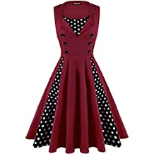 OWIN Women's Polka Dot Retro Vintage 1950s Rockabilly Cocktail Party Swing Dress