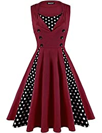 OWIN Women's Polka Dot Retro Vintage 1950s Rockabilly Cocktail Party Swing Dress