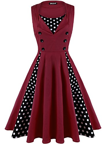 OWIN Women's Vintage 1950's Floral Spring Garden Picnic Dress Party Cocktail Dress (XXL, 220-Wine Red) (220 Gardens)
