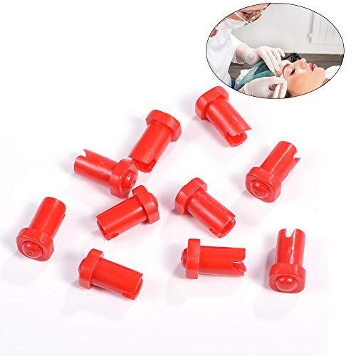 (10 Eyelash Caps, Glue Bottle Locking Needle, Red Eyelash Extension Tool, Fits Tattoo Machines Containers, Tattoo Supplies)
