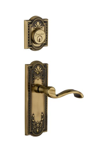 Grandeur Parthenon Plate with Portofino Lever and Matching Deadbolt Complete Single Cylinder Combo Pack Set, Vintage - Brass Parthenon Single