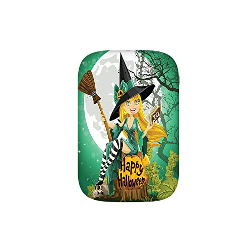 Cheerful Smiling Girl in Halloween Costume on a Pumpkin Giant Moon Woodland Portable Charger 10000mAh Power Bank External Battery Backup Pack Fast Charger for iPhone,Samsung Galaxy and More