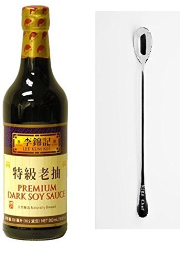 Lee Kum Kee Chili Garlic Sauce - Lee Kum Kee Premium Dark Soy Sauce - 16.9 fl. oz + One NineChef Spoon (2 Bottle)