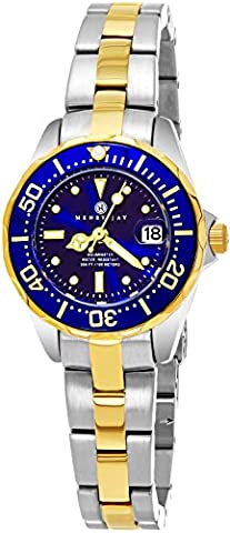 """Henry Jay Womens Dainty 23K Gold Plated Two Tone Stainless Steel """" Specialty Aquamaster"""" Watch with (Relojes Rolex Women)"""