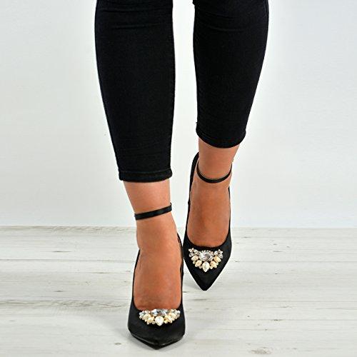 Cucu Fashion New Womens Ladies High Stiletto Pointed Toe Diamante Party Pumps Diamante Rhinestones Studs Ankle Strap Shoes Size UK Black Satin Nk1CDWaqfO