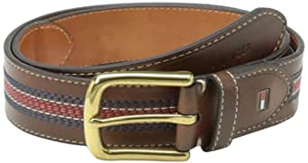 Tommy Hilfiger Men's Leather Belt - Casual or Dress for Men with Stripe Stitching on Strap Classic Single Prongle Buckle - Beige - 32
