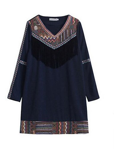 PU&PU Robe Aux femmes Ample Vintage,Imprimé Col en V Au dessus du genou Polyester , black-l , black-l
