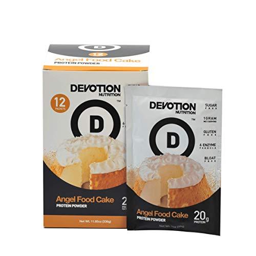 Angel Food - Devotion Nutrition Protein Powder, Angel Food Cake, 20g Protein, 1g Mct, Protein Baking Powder, Whey Protein Powder, Low Carb Protein, Single Serving Packets