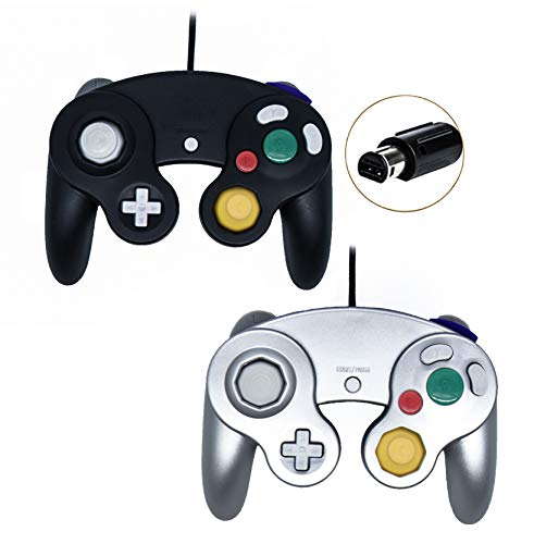 (Poulep Wired Controller For Gamecube Game Cube, Classic Ngc Gamepad Joystick For Wii Nintendo Console (Black and Silver,Pack Of 2)  )