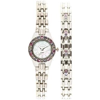 Amazon.com: Elgin Swarovski Crystal acentos Juego de Reloj y ...