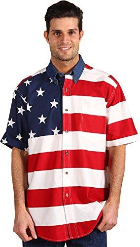 Roper Mens American Flag Print Short Sleeve Shirt (Red/White/Blue, M)